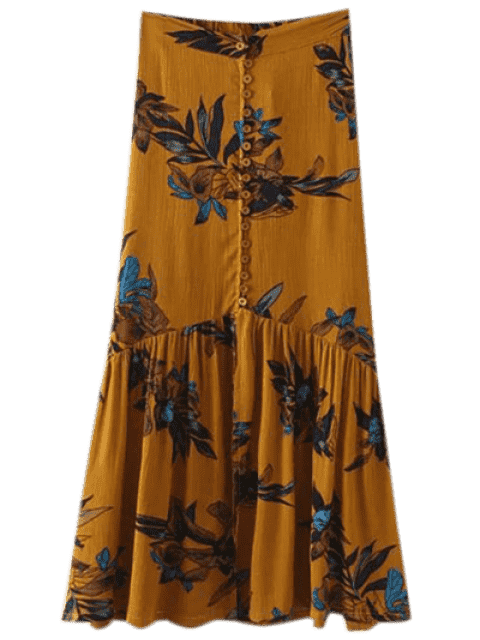 outfit Boho Floral Single-Breasted Maxi Skirt - GINGER M Mobile