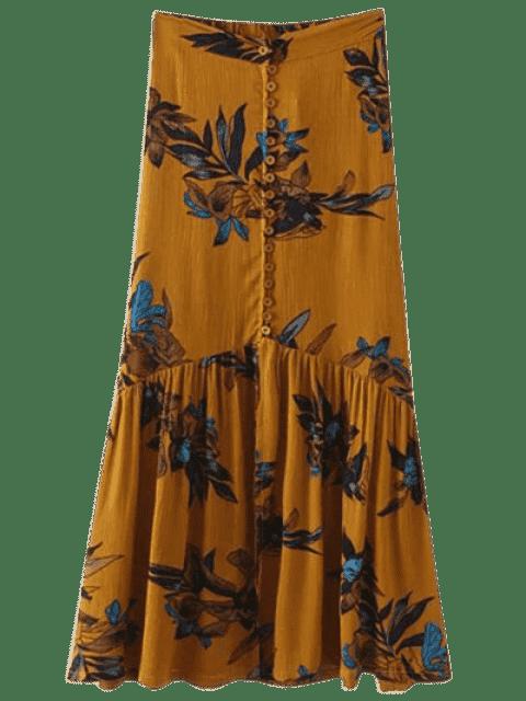 Jupe maxi florale à simple boutonnage - Curcumae M Mobile
