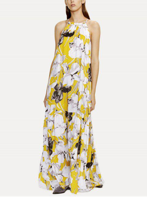 sale Halter Maxi Floral Beach Dress - YELLOW M Mobile