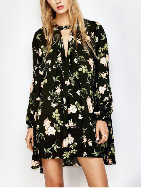 lady Floral Print Keyhole Neck Swing Dress - BLACK S Mobile