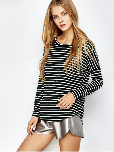 latest Long Sleeves Stripe Tee - WHITE AND BLACK S Mobile