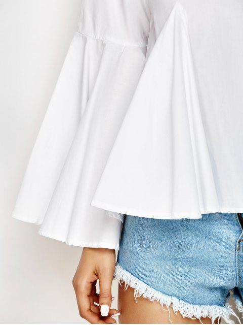 buy Bell Sleeve Cotton Blouse - WHITE L Mobile