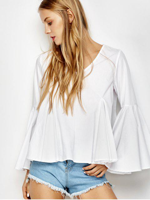 women Bell Sleeve Cotton Blouse - WHITE S Mobile