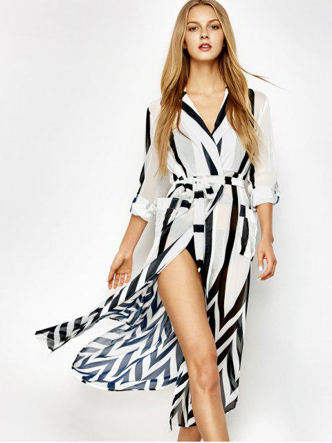 new Belted Striped Shirt Dress - WHITE AND BLACK 2XL Mobile