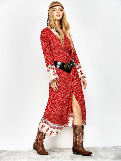 shop Printed Wrap Maxi Dress - RED S Mobile