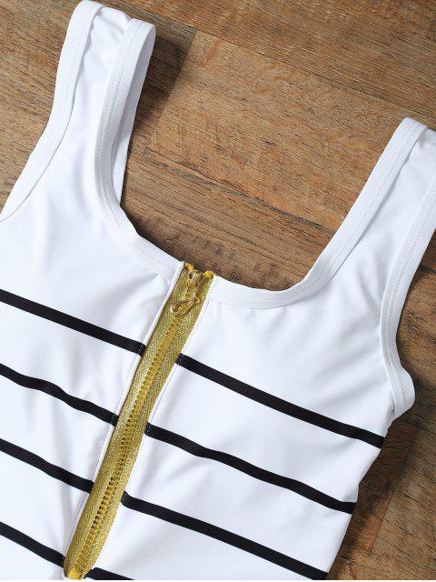 hot Half Zip Striped One-Piece Swimwear - WHITE L Mobile