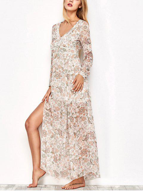 outfit High Slit Printed Long Sleeve Maxi Dress - FLORAL L Mobile
