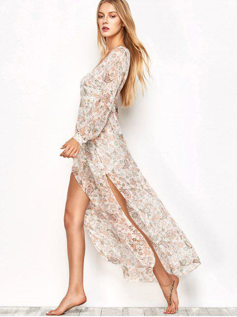 outfits High Slit Printed Long Sleeve Maxi Dress - FLORAL M Mobile