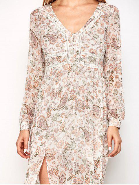 shop High Slit Printed Long Sleeve Maxi Dress - FLORAL S Mobile