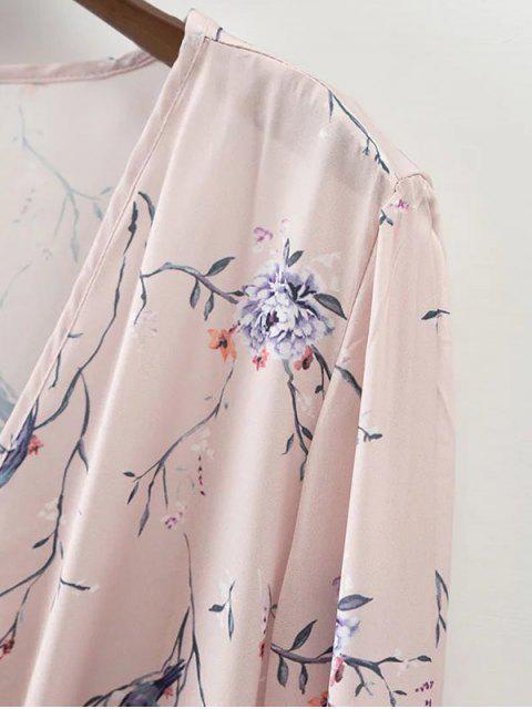 sale Floral Wrap Top - LIGHT PINK S Mobile