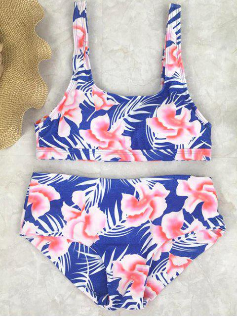new Floral High Waist Swimwear Set - BLUE M Mobile