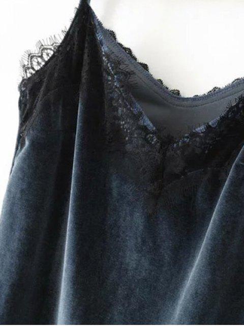 ladies Velvet Lace Trim Cami Top - PURPLISH BLUE S Mobile