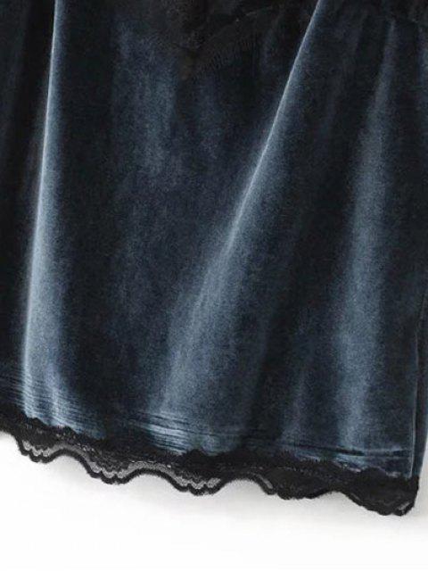 lady Velvet Lace Trim Cami Top - BLACK L Mobile