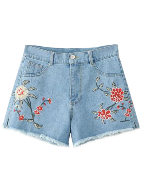 shop High Waisted Embroidered Denim Shorts - LIGHT BLUE M Mobile