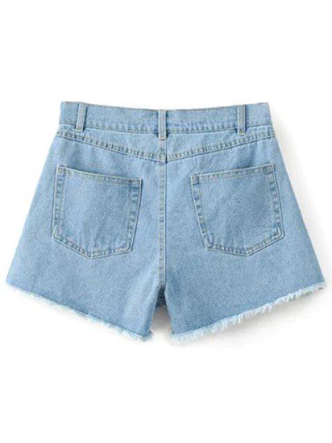 shops High Waisted Embroidered Denim Shorts - LIGHT BLUE S Mobile