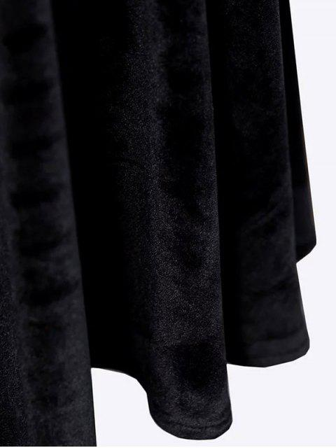 unique Velvet Keyhole Skater Dress - BLACK S Mobile