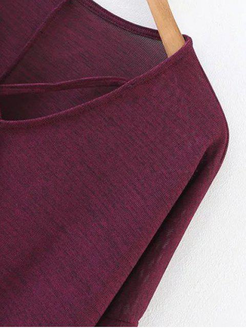 ladies Drop Shoulder Front Strap Tee - BURGUNDY L Mobile