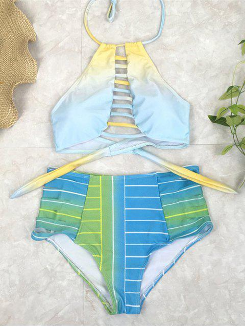 womens High Waist Halter Striped Bikini Set - BLUE L Mobile