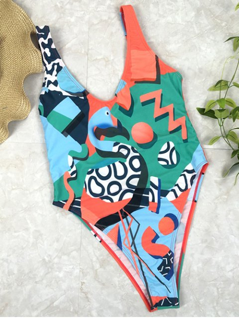 online Low Back Abstract Print Swimsuit - GREEN L Mobile