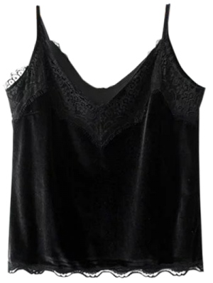 Velvet Lace Trim Cami Top - Black M