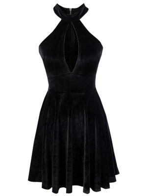 Velvet Keyhole Skater Dress - Black M