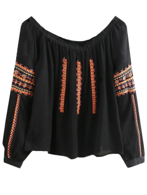 Embroidered Long Sleeve Boho Blouse - Black S
