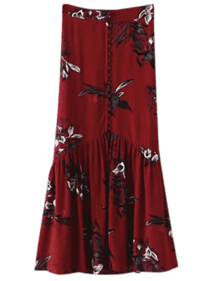 Boho Floral Single-Breasted Maxi Skirt