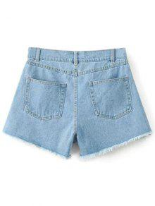 High Waisted Embroidered Denim Shorts LIGHT BLUE: Shorts S | ZAFUL