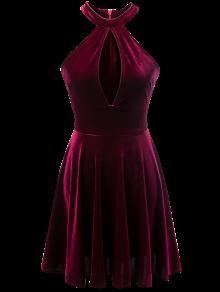 Velvet Keyhole Skater Dress - Burgundy M