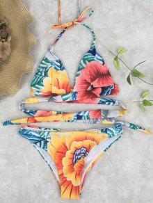 Traje De Bikini Floral Envuelto De Halter Con Nudo En Espalda - Floral S