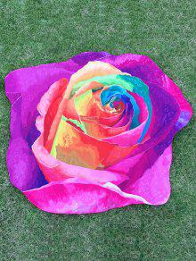 Multicolor Rose Design Plage Throw - Pourpre