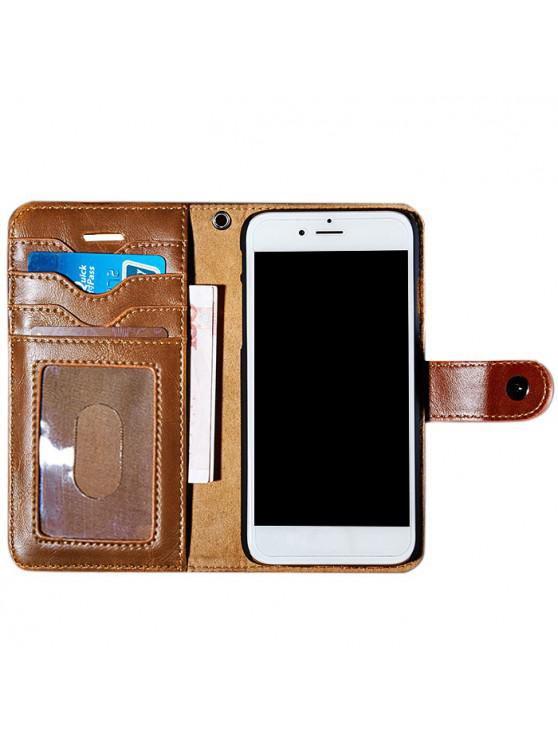 Faux Leather Flip Wallet Case with Card Slot For iPhone - สีน้ำตาล สำหรับ iPhone 7