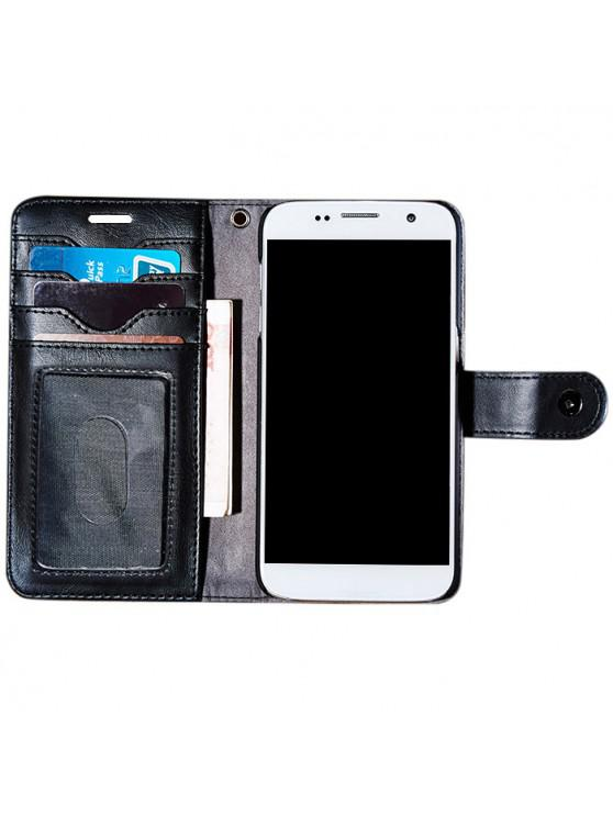 shop Faux Leather Flip Wallet Case with Card Slot For iPhone - BLACK FOR IPHONE 7