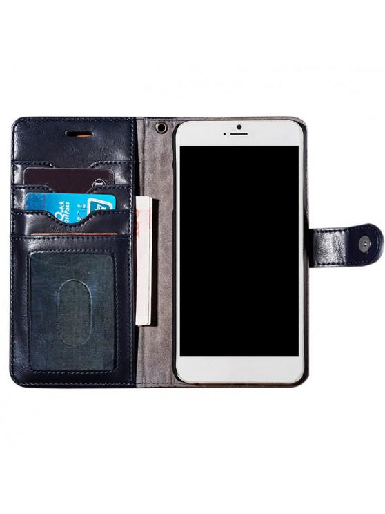 fashion Faux Leather Flip Wallet Case with Card Slot For iPhone - DEEP BLUE FOR IPHONE 7
