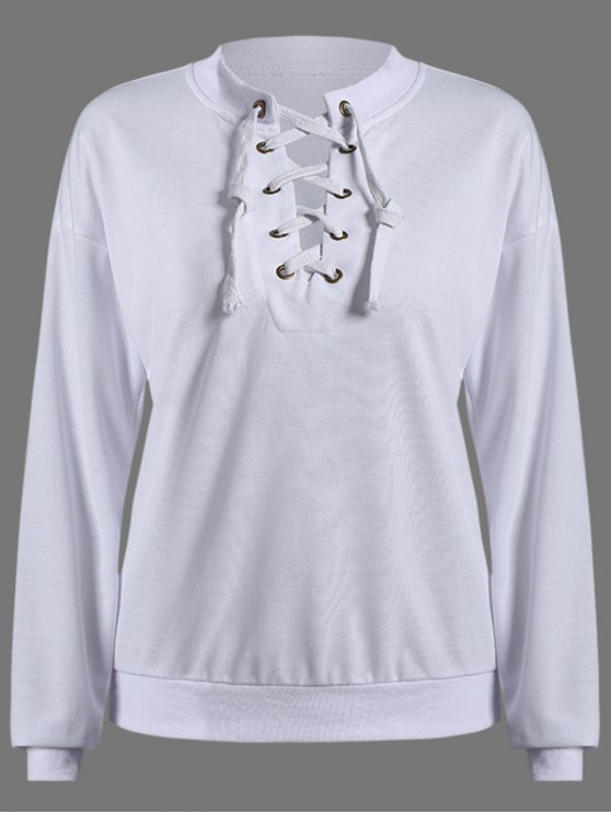 outfit Lace Up Round Neck Pullover Sweatshirt - WHITE M