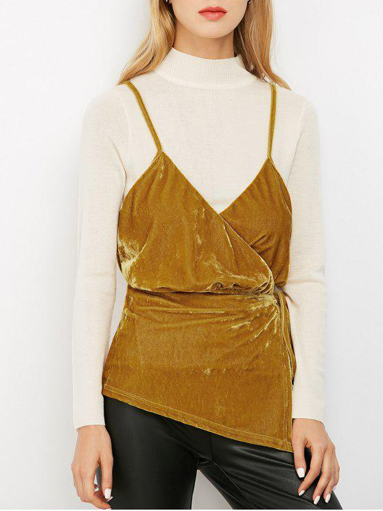 fancy Velvet Wrap Slip Top - BROWN S