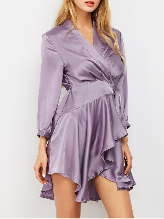 women's Satin Wrap Robe Tea Dress - PURPLE M