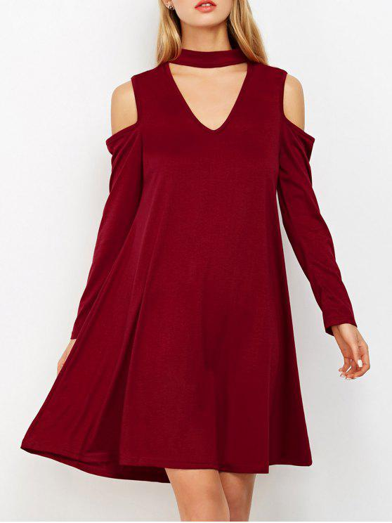 chic Cutout Shoulder Choker Neck Swing Dress - BURGUNDY S