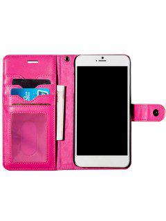 Etui-Portefeuille Avec Compartiment Pour Cartes En Simili Cuir Pour IPhone - Rose Rouge Pour Iphone 7