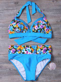 Tie Back Floral Print Bikini - Blue S