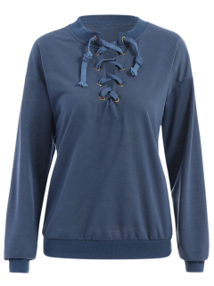 Lace Up Col Rond Sweat-shirt - Pierre Bleue S