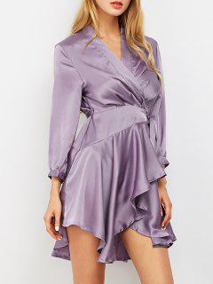Satin Wrap Robe Tea Dress - Purple L