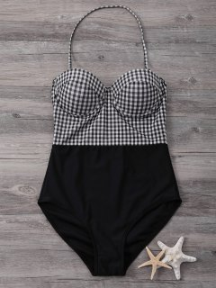 Bandeau High Waisted Plaid Swimwear - Black S
