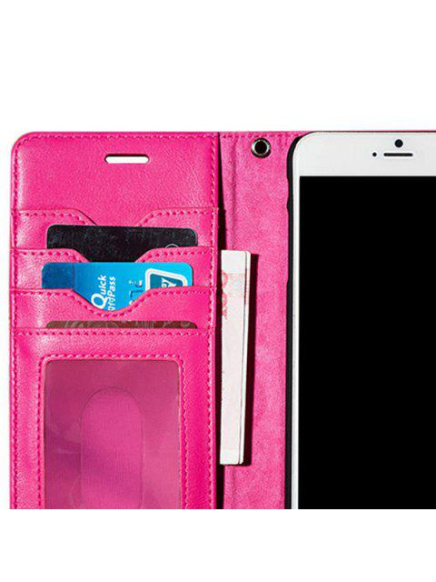 latest Faux Leather Flip Wallet Case with Card Slot For iPhone - ROSE MADDER FOR IPHONE 7 Mobile