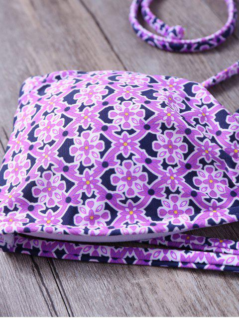 women's Tile Print String Bandeau Bikini - PURPLE M Mobile