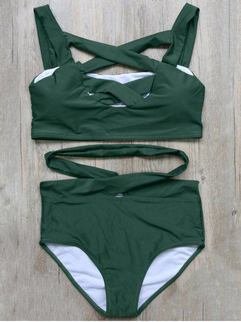 unique Crossover Cutout Bikini Set - GREEN M Mobile