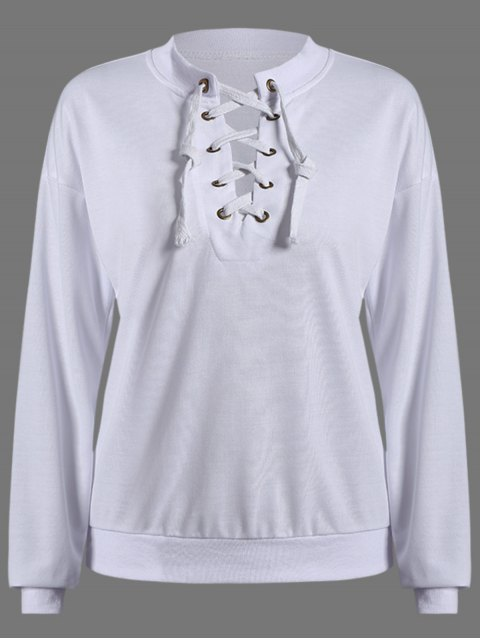outfit Lace Up Round Neck Pullover Sweatshirt - WHITE M Mobile