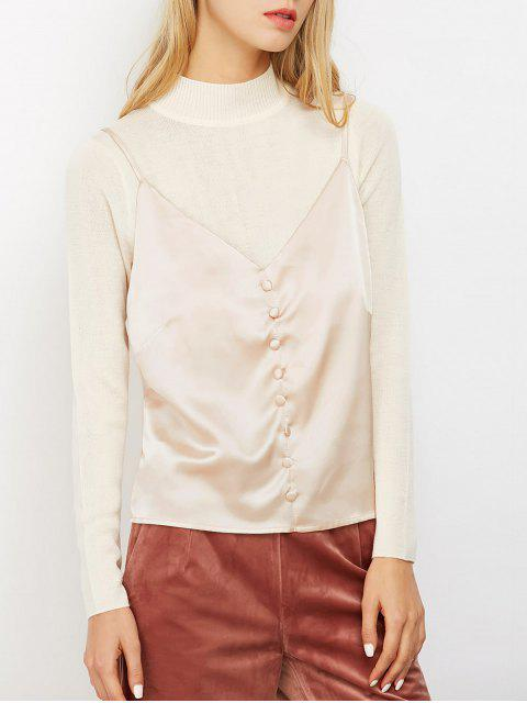 lady Buttoned Satin Cami Top - LIGHT PINK L Mobile