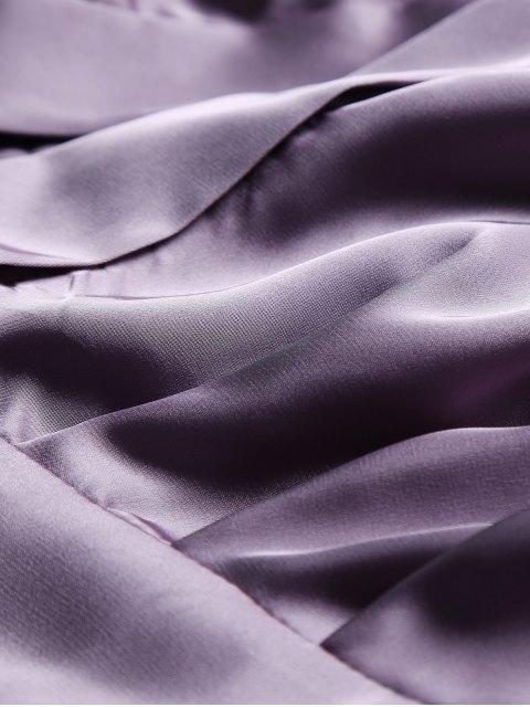 ladies Satin Wrap Robe Tea Dress - PURPLE S Mobile
