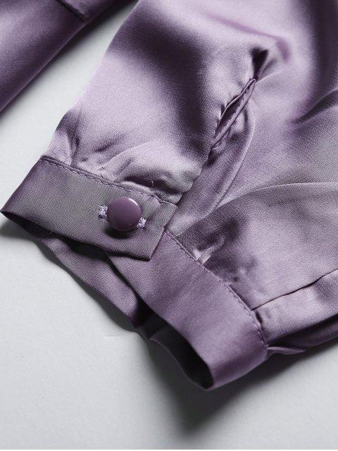 women's Satin Wrap Robe Tea Dress - PURPLE M Mobile